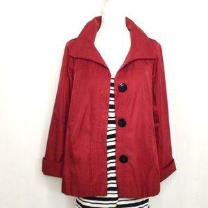 Dark red trench raincoat size small petite